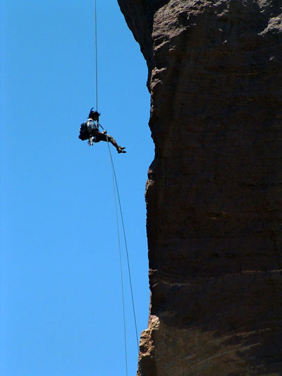 Mid-way through rappel off Monkey Face