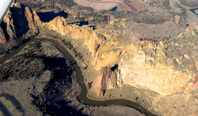 Aerial view of Smith Rock's main area.  Plane ride courtesy Steve Townshend.