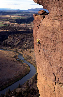 David Potter on 'Monkey Space' at Smith Rock.  Photo copyright Howie Garber