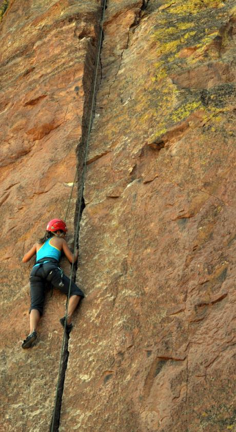 "Crack climbing on ""Peking"" (5.8), Smith Rock, Oregon"