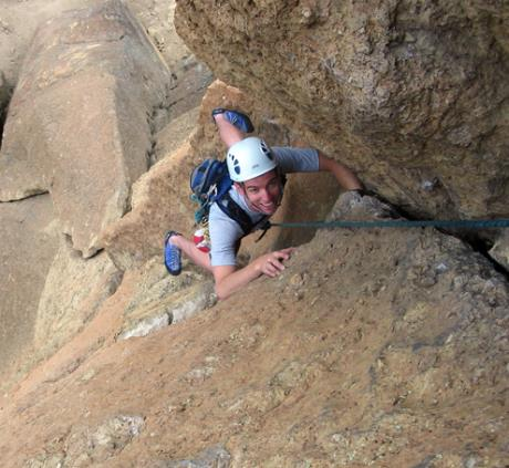 "100 feet up on ""Spiderman"" (5.7), Smith Rock, OR"