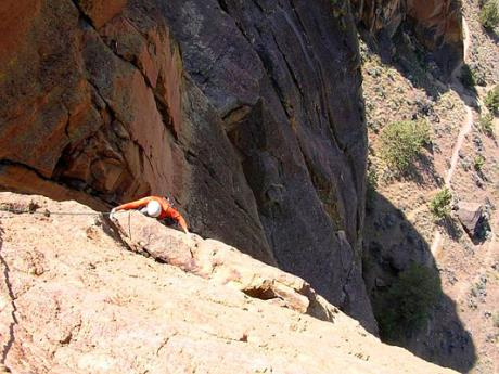 "250 feet up the ""West Face Variation"" (5.9), Monkey Face, Smith Rock"