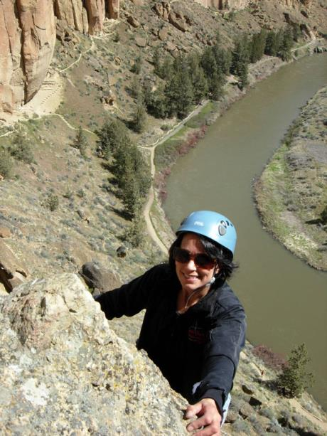 "Finishing the first pitch of ""White Satin"" (5.9), Smith Rock, Oregon"